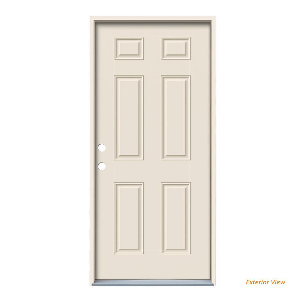 Jeld Wen 32 In X 80 In 6 Panel Primed Steel Prehung Right Hand Inswing Front Door Thdjw166100289 The Home Depot