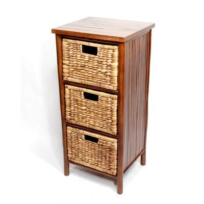 Shelly Assembled 15.5x15.5x14.25 in. Accent Storage Cabinet with 3 Hyacinth Baskets in Bamboo Brown Paint