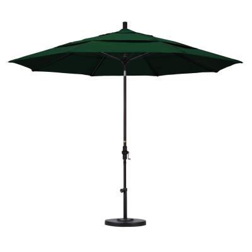 11 ft. Bronze Aluminum Pole Market Fiberglass Collar Tilt Crank Lift Outdoor Patio Umbrella in Forest Green Sunbrella