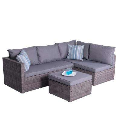 Cyrus 4-Piece Wicker Patio Sectional Seating Set with Cushions