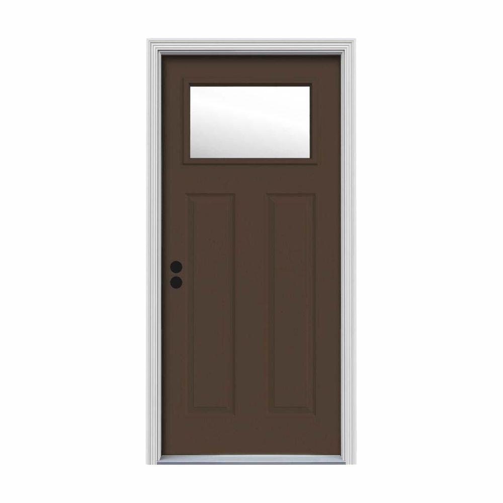 32 in. x 80 in. 1 Lite Craftsman Dark Chocolate Painted Steel Prehung Right-Hand Inswing Front Door w/Brickmould