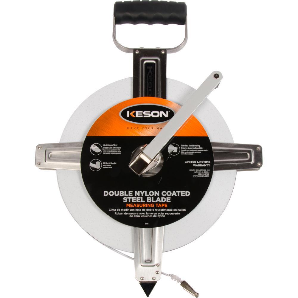 Keson 300 ft. Steel Open Reel Tape Measure, Stainless Ste...