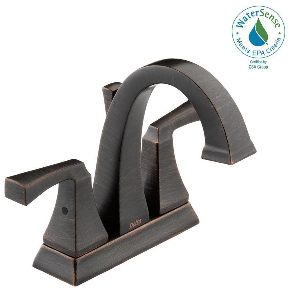 Delta Dryden 4 in. Centerset 2-Handle Bathroom Faucet with Metal Drain Assembly in Venetian Bronze