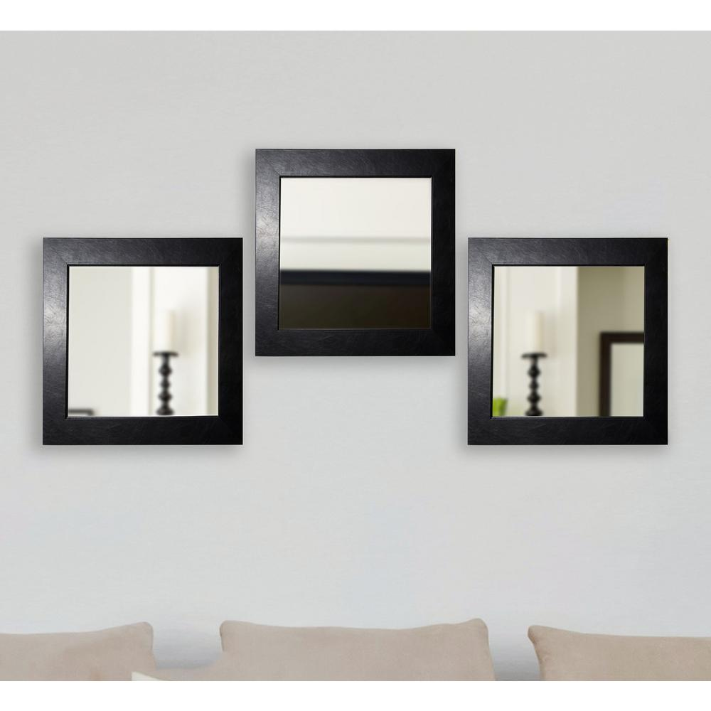 21 in. x 21 in. Black Superior Square Wall Mirrors (Set