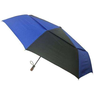 54 in. Arc Vented Canopy 3 Sectional Telescopic Windguard Oversized Auto Open Auto Close Umbrella in Blue/Black