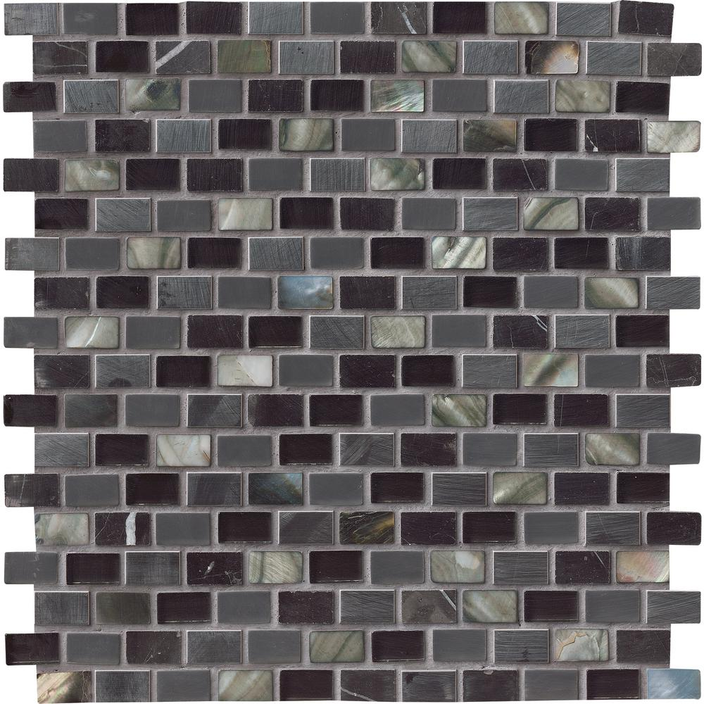 MSI Midnight Pearl 12 in. x 12 in. x 8 mm Glass Metal and Stone Mesh-Mounted Mosaic Wall Tile