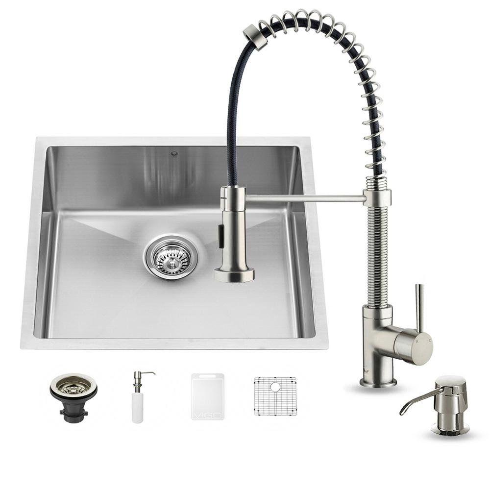 All In One Undermount Stainless Steel 23 In. Single Bowl Kitchen Sink In