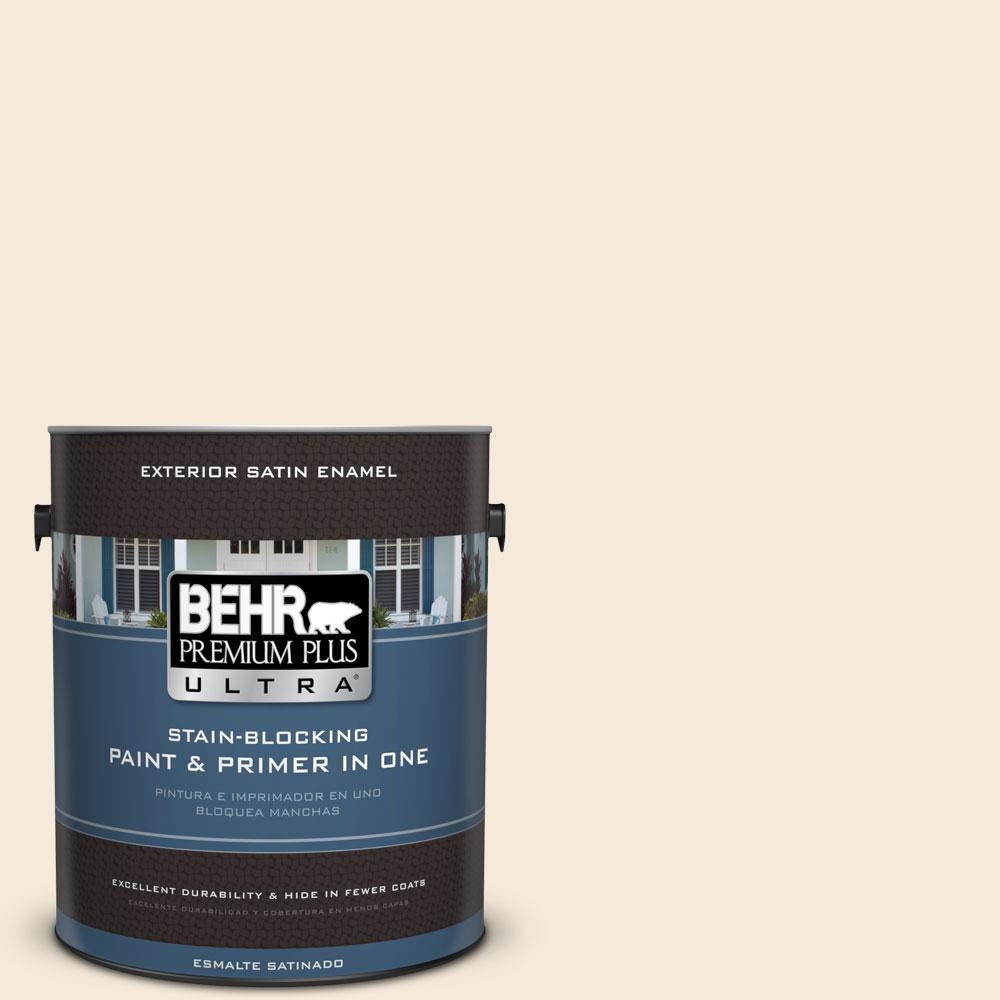 BEHR Premium Plus Ultra 1 gal. #70 Linen White Satin Enamel Exterior Paint