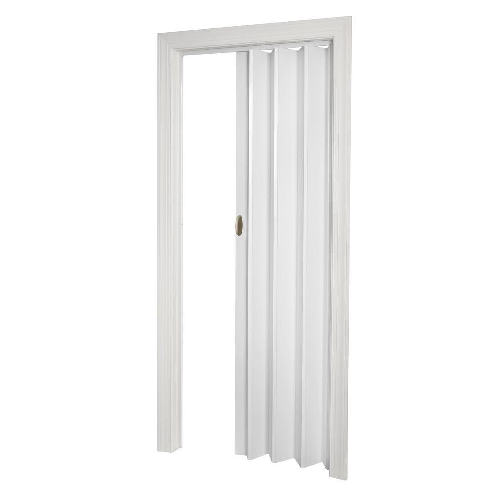 Fusion Vinyl White Accordion Door  sc 1 st  Home Depot : acordian door - pezcame.com