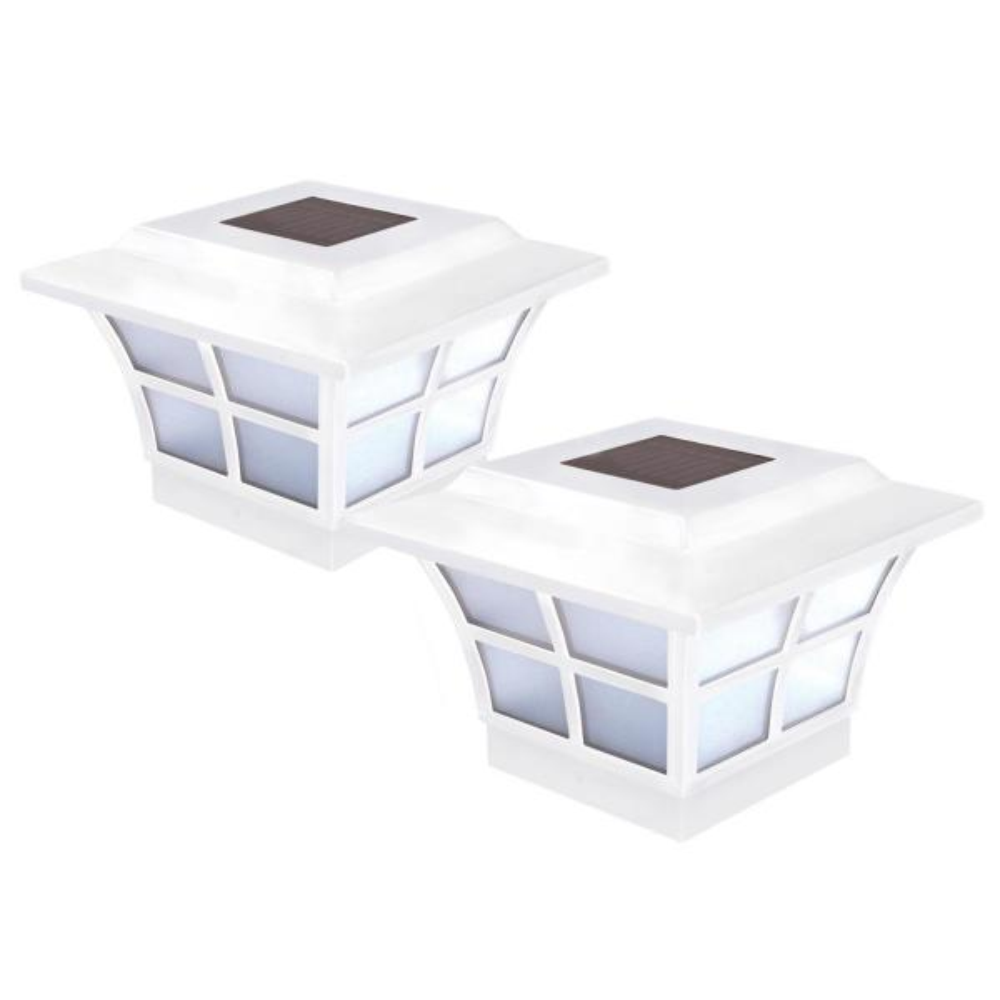 Prestige 4 in. x 4 in. Outdoor White Vinyl LED Solar Post Cap (2-Pack)
