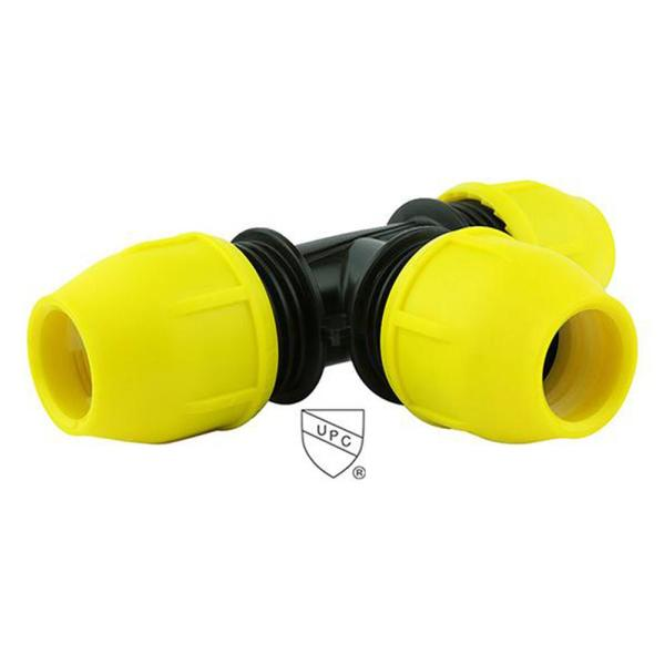 1/2 in. IPS DR 11 Underground Yellow Poly Gas Pipe Tee