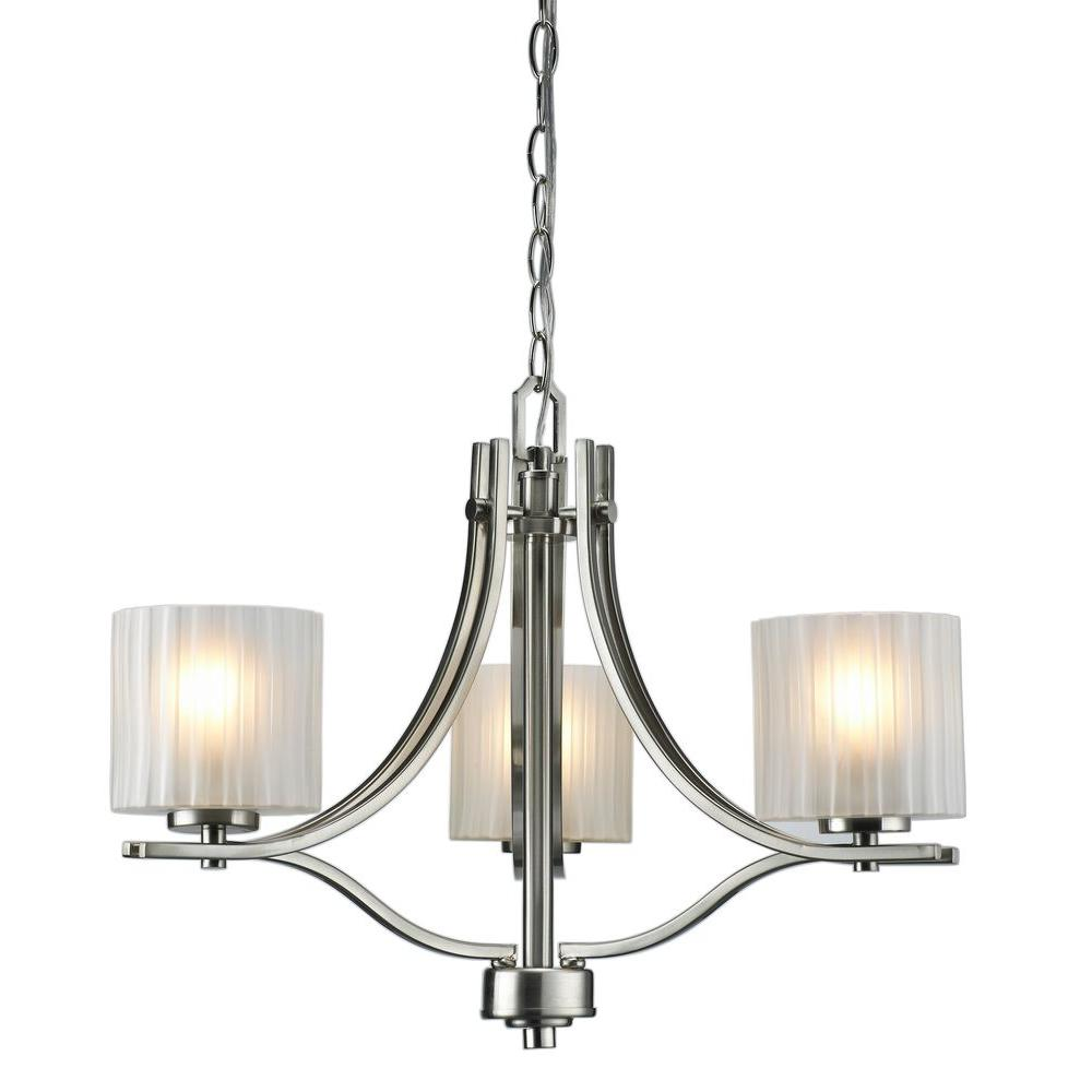 Home Depot Dining Room Chandeliers: Hampton Bay Sheldon Collection 3-Light Brushed Nickel