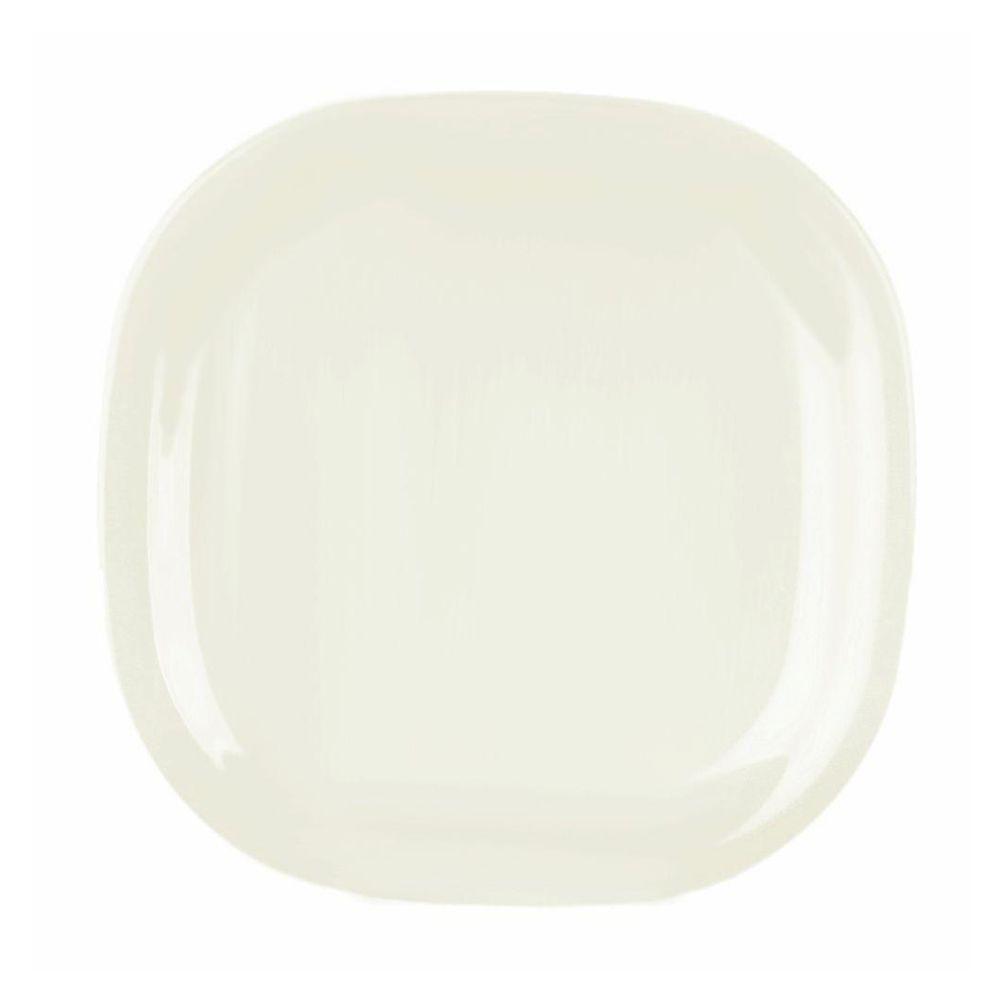 Restaurant Essentials Jazz 11 in. x 11 in. Round Square Plate in Pearl (1-Piece)