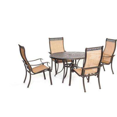 Somerset 5-Piece Aluminum Round Outdoor Dining Set with Cast-Top Table