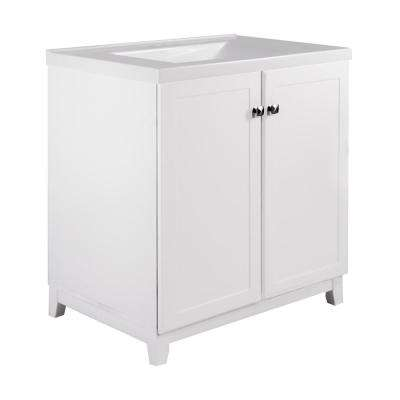 30 in. x 21 in. x 33 in. 2-Door Bath Vanity in White with 4 in. Centerset Solid White CM Contempo Vanity Top with Basin