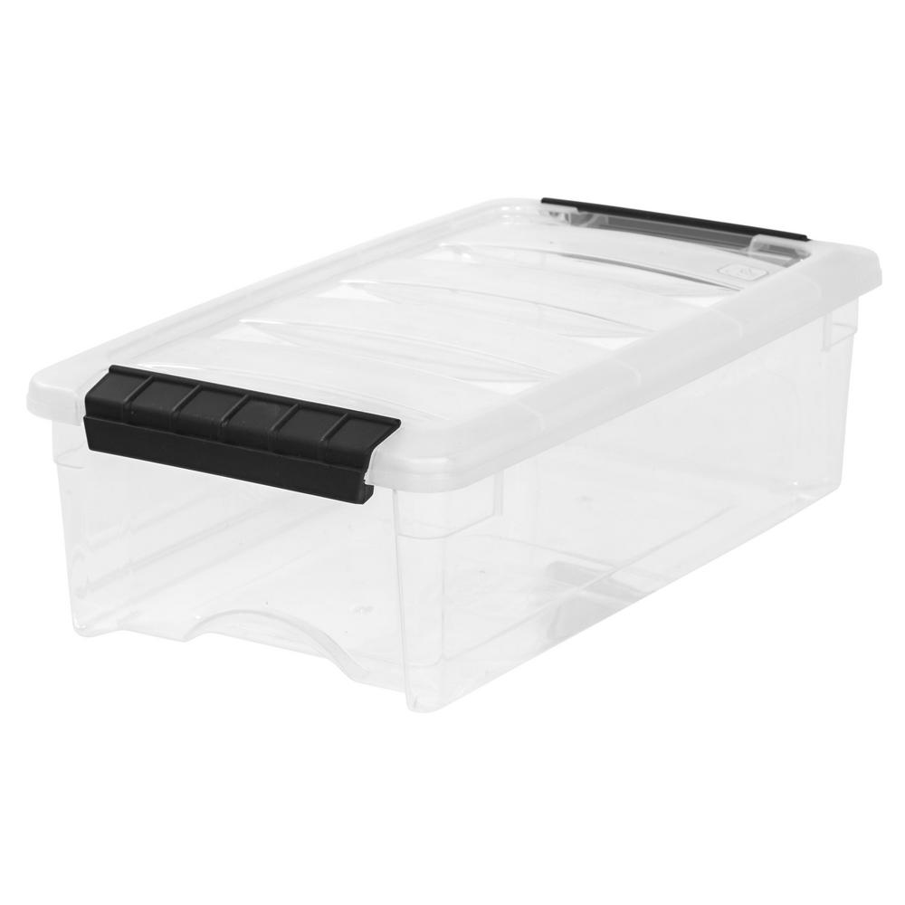 IRIS 5 Qt. Stack and Pull Storage Box in Clear
