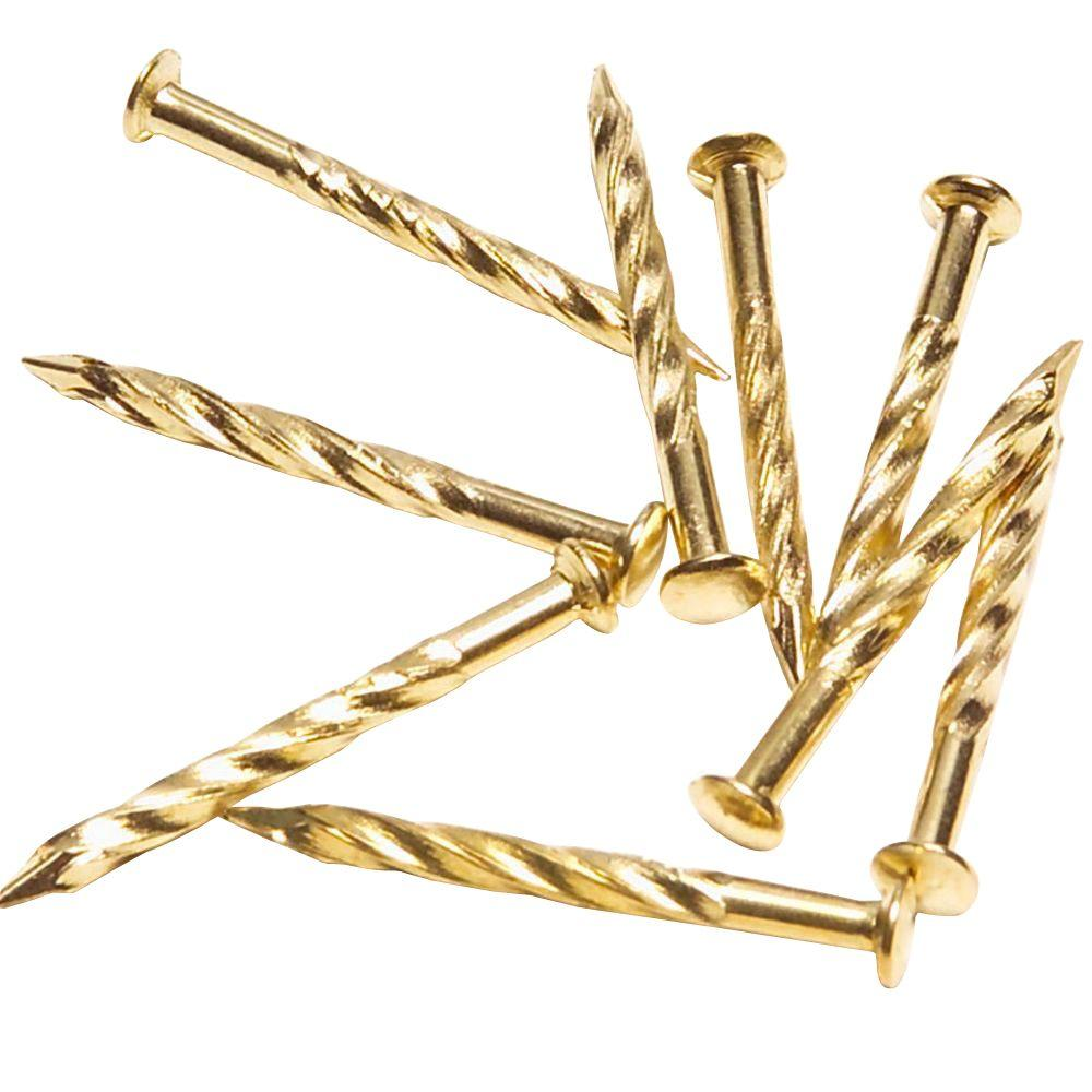 TrafficMASTER 1-1/4 in. Satin Brass Floor Metal Screw Nails