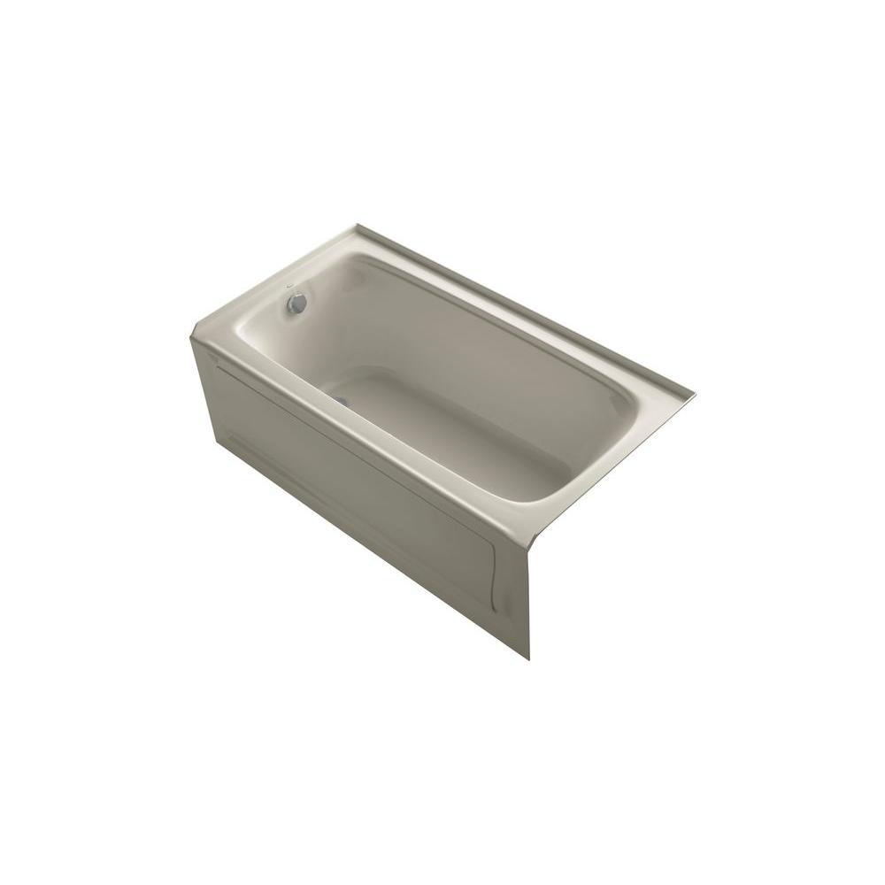 KOHLER Bancroft 5 ft. Acrylic Left Drain Rectangular Alcove Whirlpool Bathtub in Sandbar