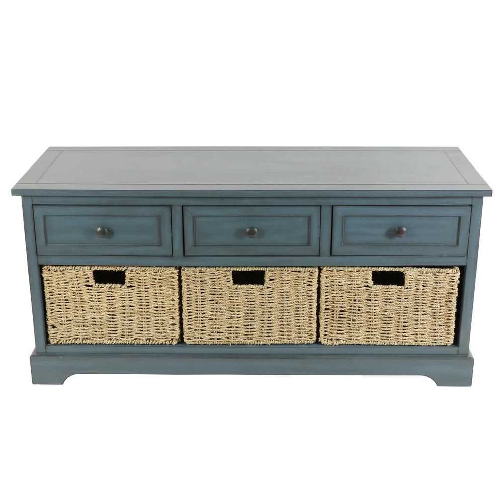 Montgomery Antique Navy Storage Bench