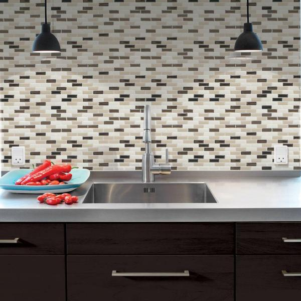 Smart Tiles 9 10 In X 10 20 In Mosaic Peel And Stick Decorative Wall Tile Backsplash In Murano Dune Sm1035 1 The Home Depot