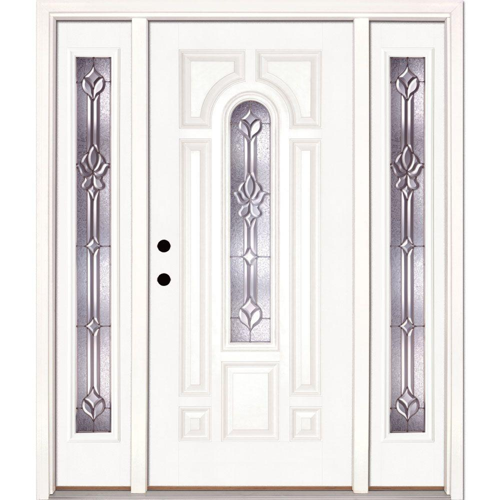 Feather River Doors 67.5 in.x81.625 in. Medina Zinc Center Arch Lite Unfinished Smooth Right-Hand Fiberglass Prehung Front Door w/ Sidelites