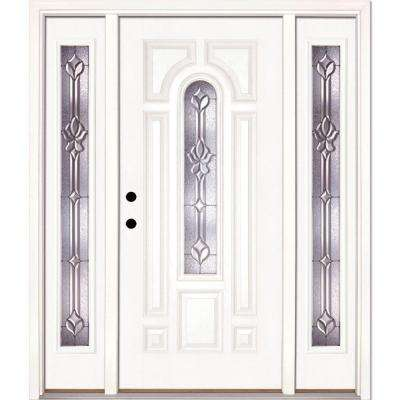 67.5 in.x81.625 in. Medina Zinc Center Arch Lite Unfinished Smooth Right-Hand Fiberglass Prehung Front Door w/ Sidelites