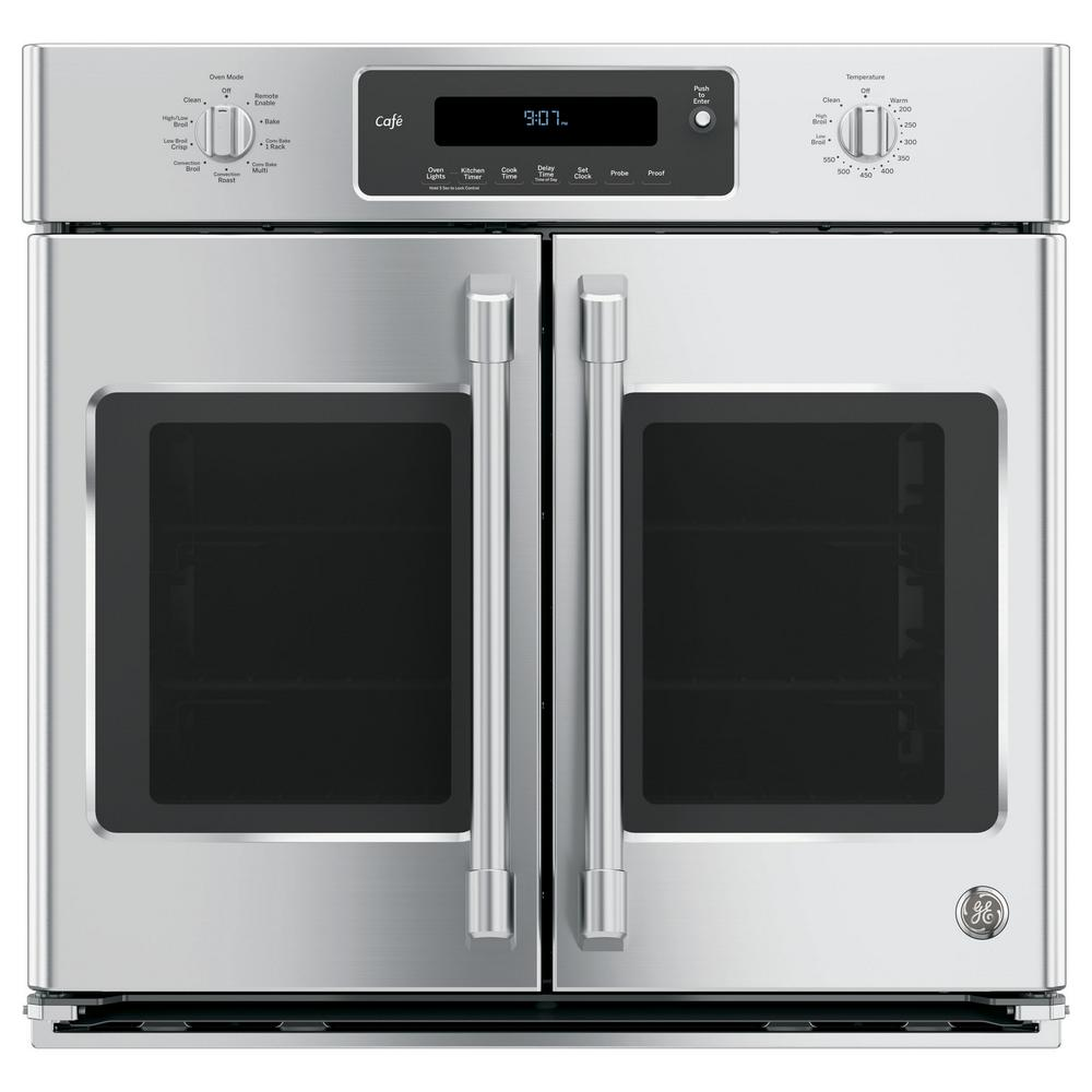 Cafe 30 in. Smart Single Electric French-Door Wall Oven Self-Cleaning with Convection in Stainless Steel