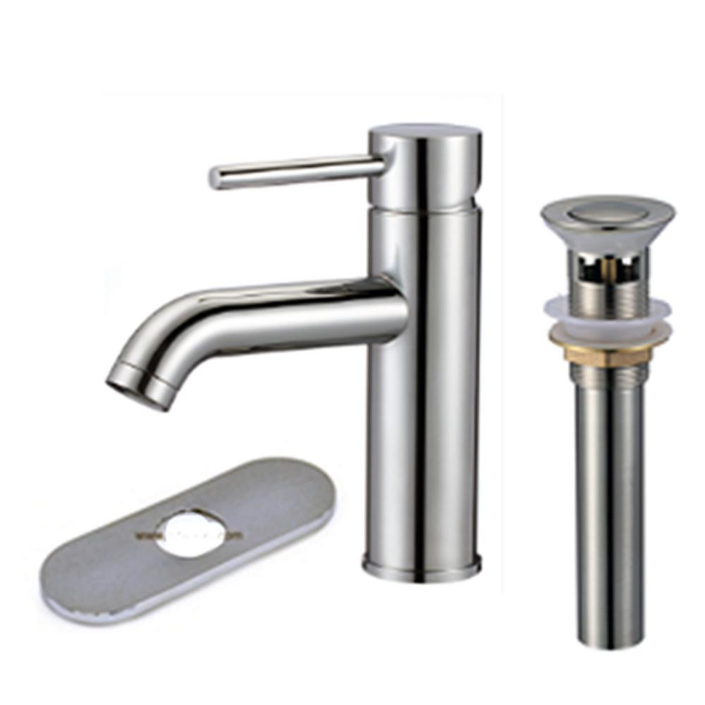 HomeSelects Contempo Single Hole Single-Handle Bathroom Faucet with Pop Up Drain in Chrome