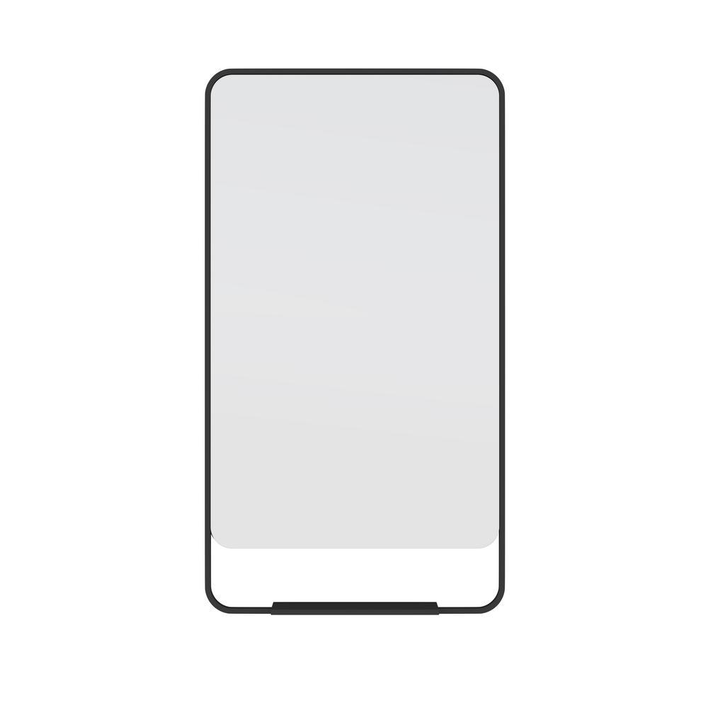 22 in. W x 40 in. H Framed Radius Top Bathroom Vanity Mirror in Black