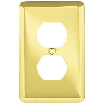 Stamped Round Decorative Single Duplex Outlet Cover, Polished Brass