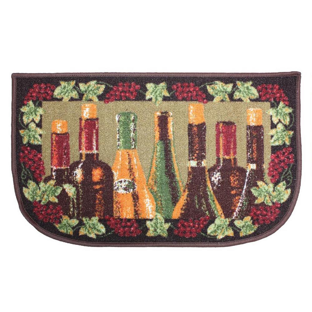 Wine Bottle Multi-Color 18 in. x 30 in. Indoor Mat