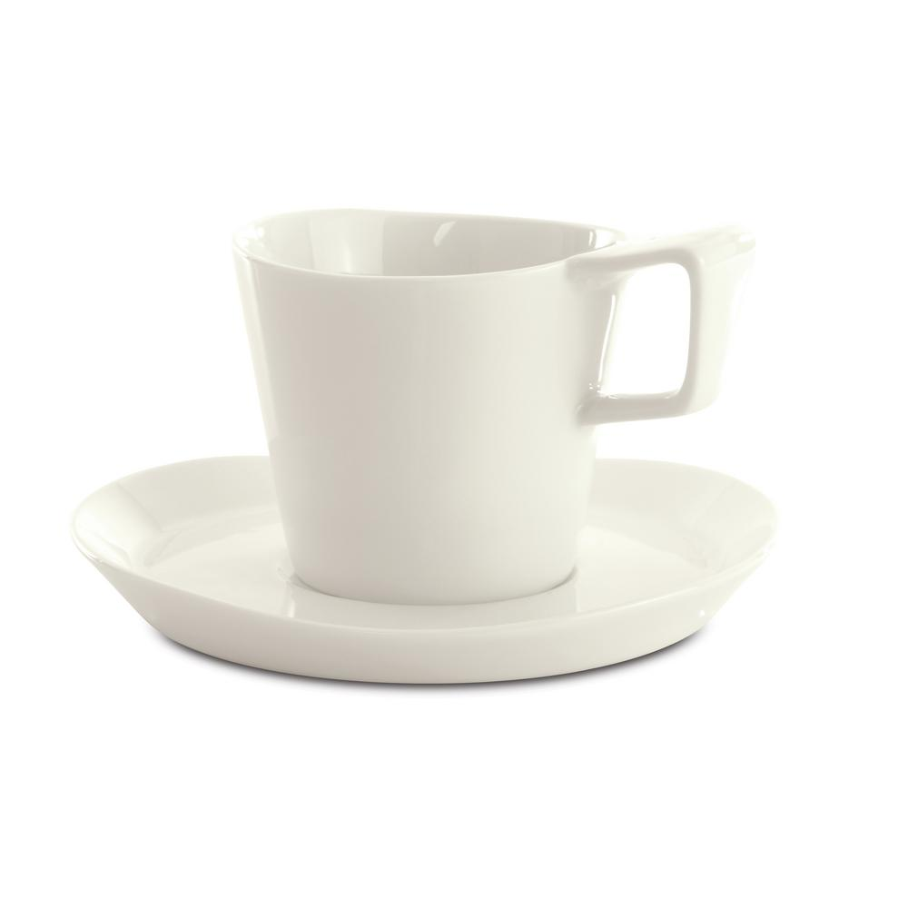 Eclipse 6 oz. White Porcelain Coffee Cup and Saucer (Set of