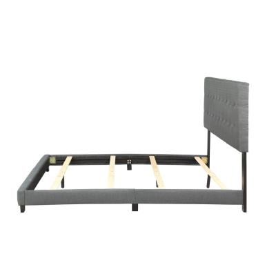 Gray King Upholstered Linen Stitch Tufted Platform Bed with Slat Support