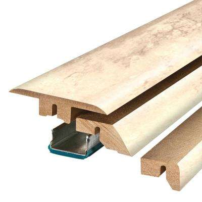 Vanilla Travertine 3/4 in. Thick x 2-1/8 in. Wide x 78-3/4 in. Length Laminate 4-in-1 Molding