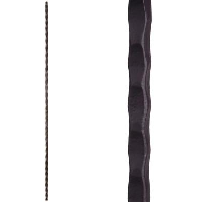 Tuscan Square Hammered 44 in. x 0.5625 in. Satin Black Plain Square Hammered Solid Wrought Iron Baluster