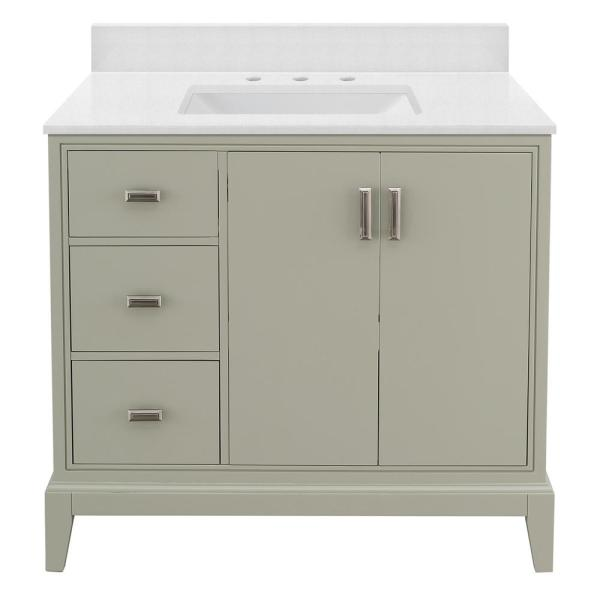 Shaelyn 37 in. W x 22 in. D Bath Vanity in Sage Green LH with Engineered Marble Vanity Top in Snowstorm with White Sink