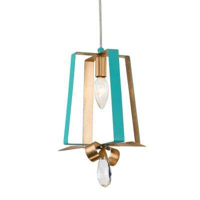 Posh 1 Light Aqua Gold Leaf Mini Pendant