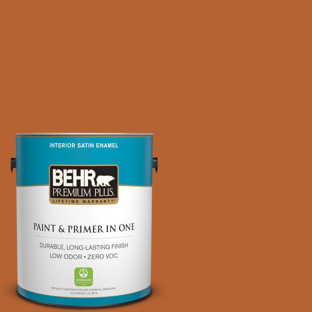 BEHR Premium Plus 1-gal. #250D-7 Caramelized Orange Zero VOC Satin Enamel Interior Paint