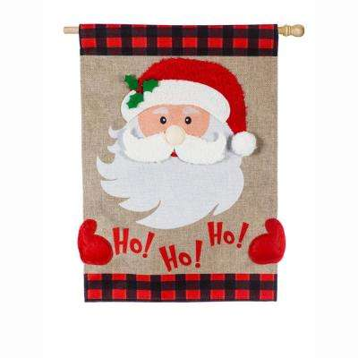 28 in. x 44 in. Ho Ho Ho Santa House Burlap Flag