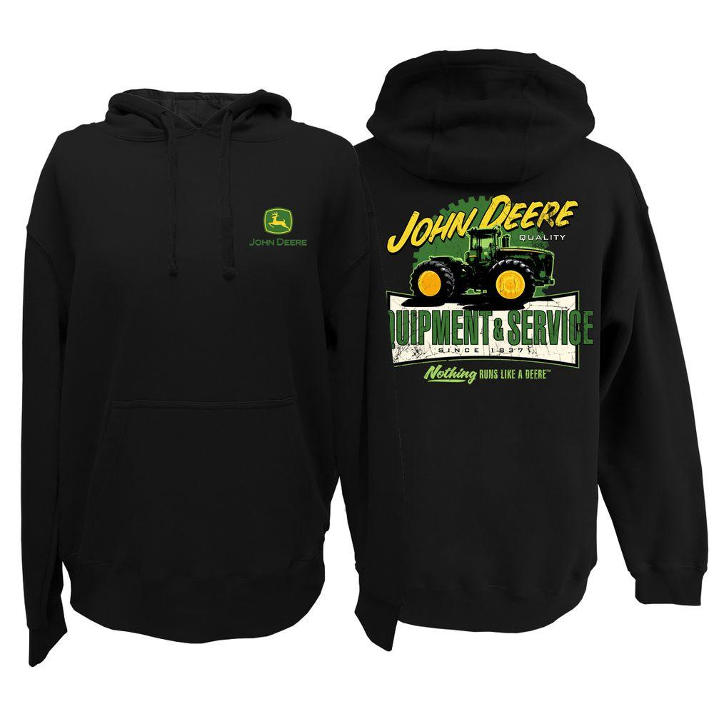 John Deere Men's Pullover Hoodie in Black with Equipment and Service Screen Print - X Large