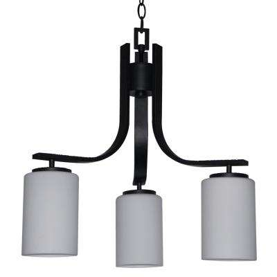 3-Light Ebony Bronze Chandelier with Etched Dove White Glass Shade