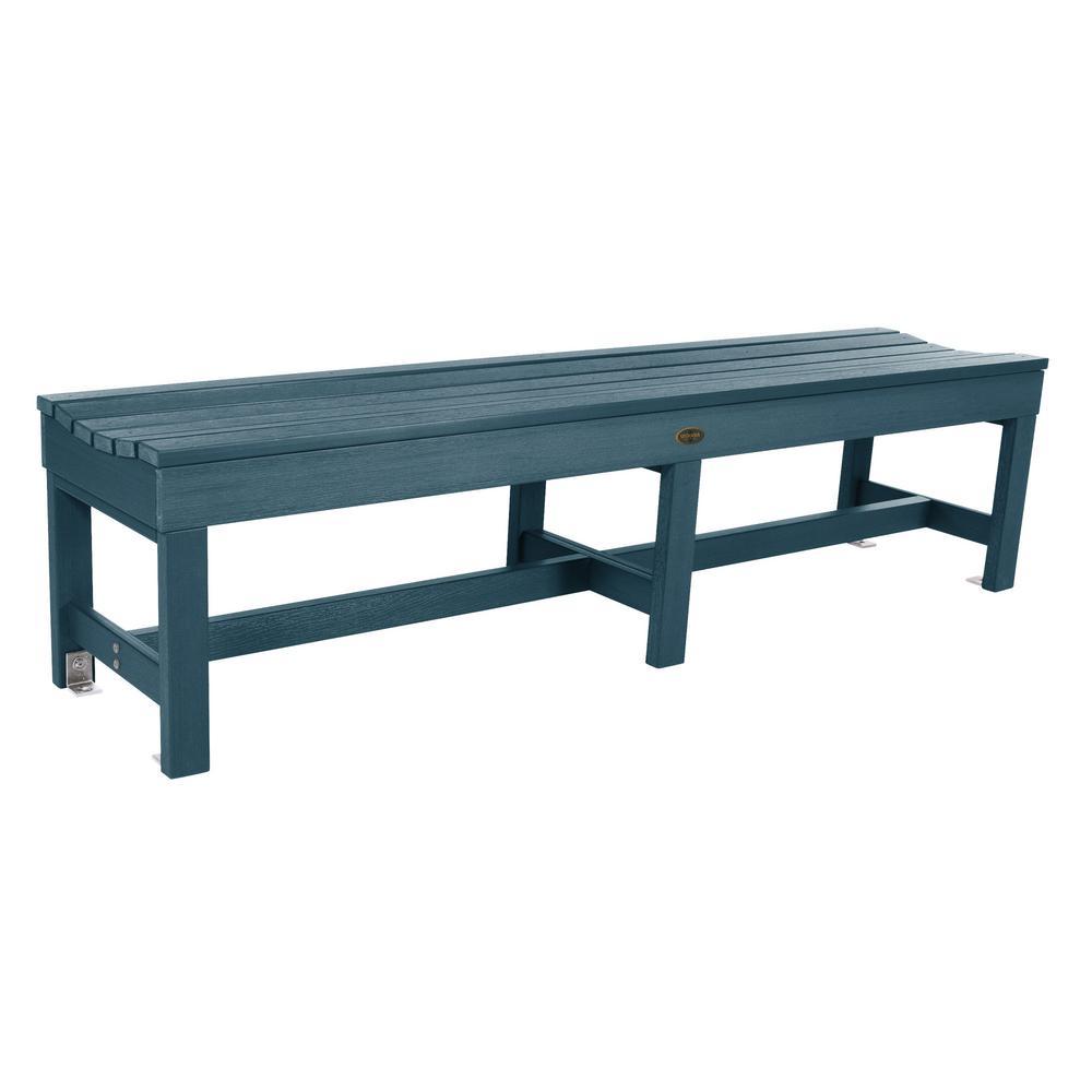 Weldon 71 in. 3-Person Nantucket Blue Plastic Outdoor Bench