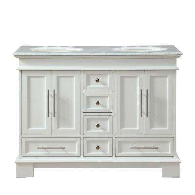 48 in. W x 22 in. D Vanity in White with Marble Vanity Top in Carrara White with White Basin