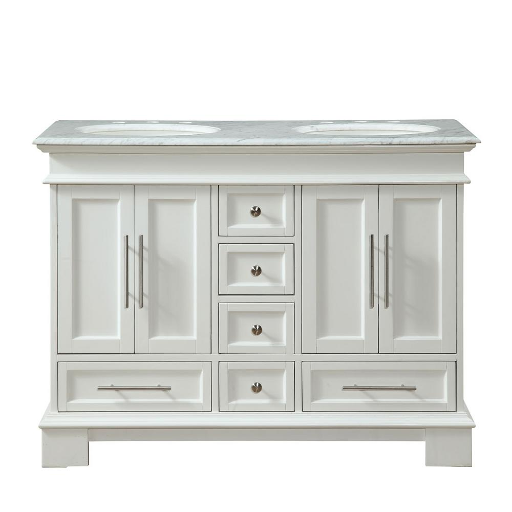 c2be9dfa4c2 Silkroad Exclusive 48 in. W x 22 in. D Vanity in White with Marble ...