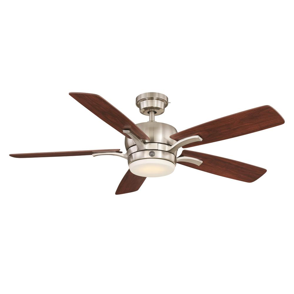 GE Adley 54 in. LED Indoor Brushed Nickel Ceiling Fan with SkyPlug Technology