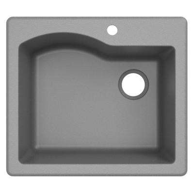 Quarza Drop-in/Undermount Granite Composite 25 in. 1-Hole Single Bowl Kitchen Sink in Grey