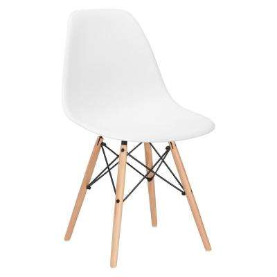 Vortex White Side Chair with Natural Legs