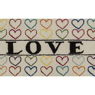Skylar Lifestyle Collection Ivory/Multi 2 ft. 3 in. x 3 ft. 9 in. Love Accent Rug