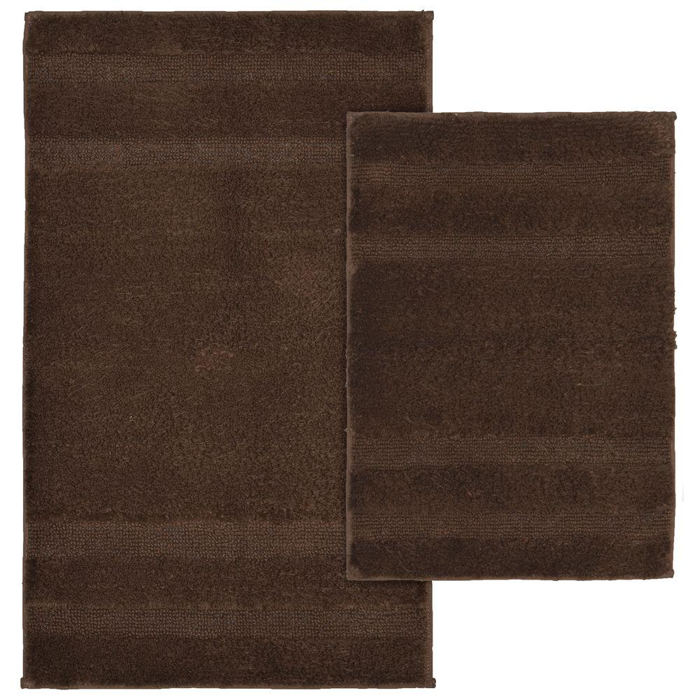 Garland Rug Majesty Cotton Chocolate 21 in. x 34 in. Washable Rug 2-Piece Rug Set