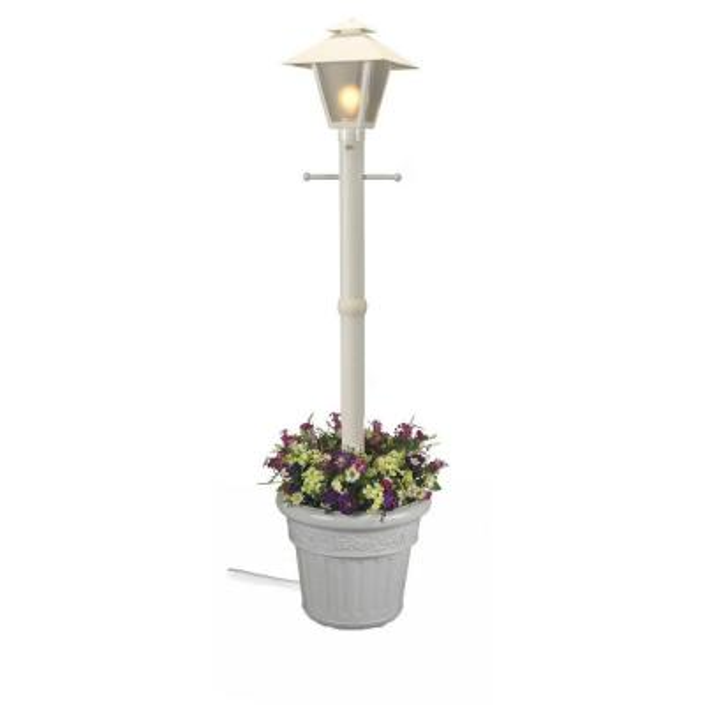 Cape Cod Plug-In Outdoor White Post Lantern with Planter